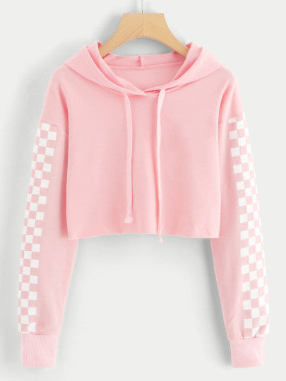 Contrast Checked Sleeve Crop Hoodie - - Clothing - racé athleisure