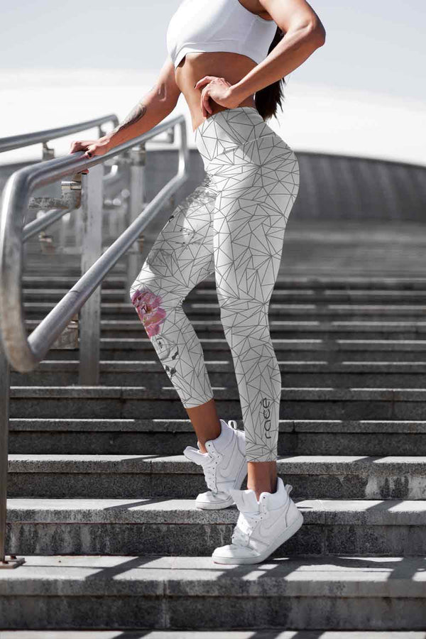 racé Sakura Grey leggings high waisted - Gray / XS - - racé athleisure