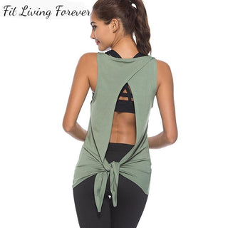 open back tank top, fitness top, tank top