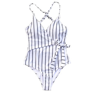 ff2f522a3140e Stay Young Stripe One-piece Swimsuit Women V neck Sexy Backless Tied Bow  Monokini 2019