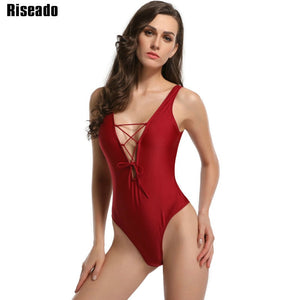 d33b599ad 2019 Sexy One Piece Swimsuit Brand Swimwear Women Lace-up Deep V Swim Wear U