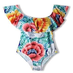 6476295548 Sexy Floral Off Shoulder Swim Wear Lady High Cut Bathing Suit Ruffle Plus  Size Monokini Thong