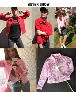 Jeans Jacket and Coats for Women 2019 Autumn Candy Color Casual Short Denim