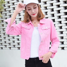 Load image into Gallery viewer, Jeans Jacket and Coats for Women 2019 Autumn Candy Color Casual Short Denim