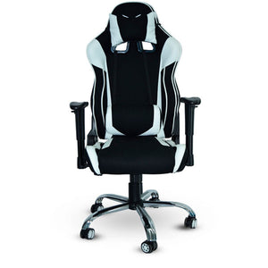 SILLA GAMER NACEB RECON PIEL SINTETICA Y NYLON, RECLINABLE, DESCANSA BRAZOS 4D, BASE DE METAL, SOPORTE LUMBAR Y CERVICAL, BASE DE METAL COLOR NEGRO CON BLANCO