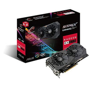 TARJETA DE VIDEO ASUS RADEON RX570/PCIE X16 3.0/4GB DDR5/2X DVI-D/HDMI/DP/ESTANDAR/GAMA MEDIA/RGB ROG-STRIX-RX570-O4G-GAMING