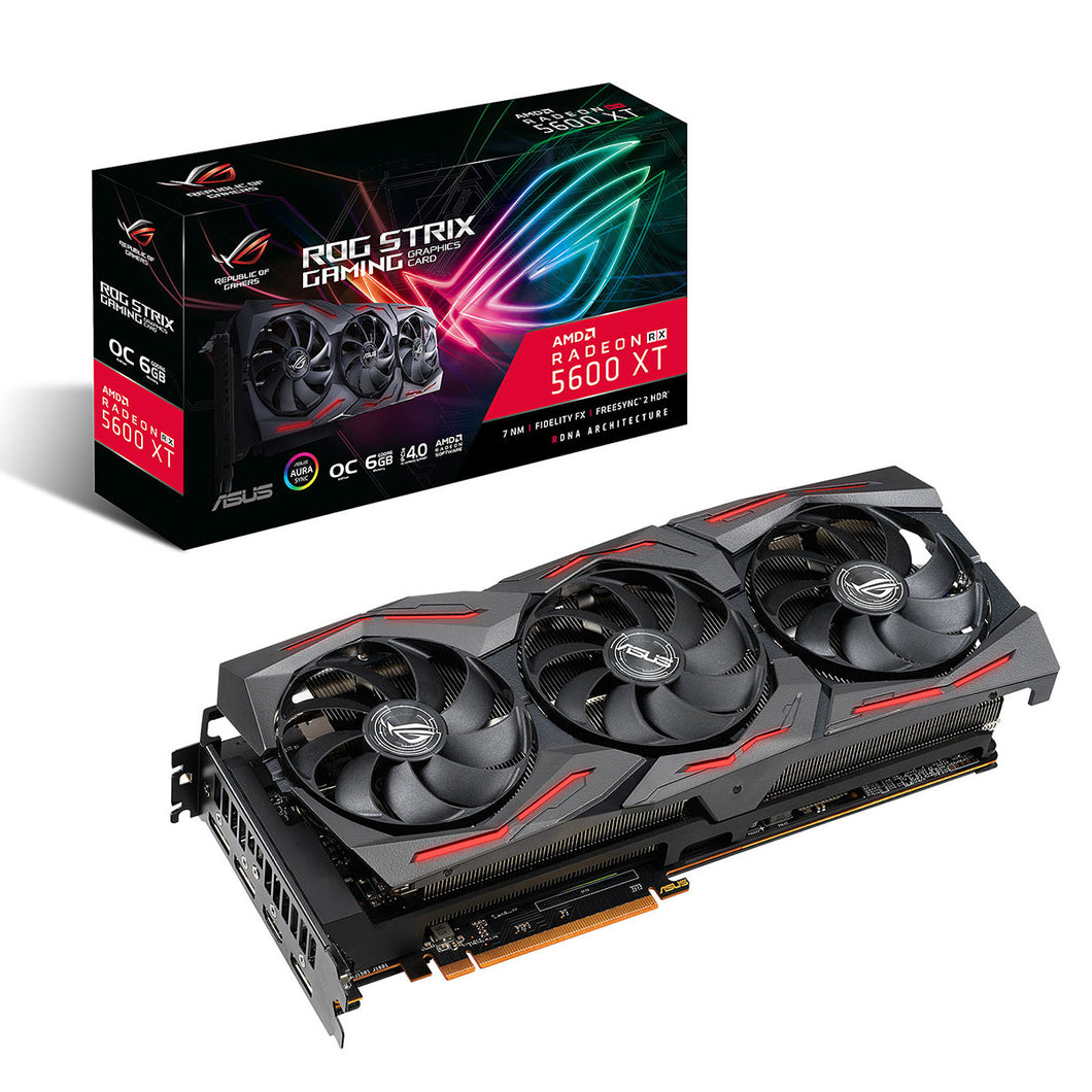 TARJETA DE VIDEO ASUS (ROG-STRIX-RX5600XT-O6G-GAMING) GDDR6 192BIT,PCI-E 4.0,HDMI2.0B,3*DP1.4