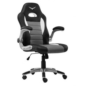 SILLA GAMER NACEB PILOT PIEL SINTETICA Y NYLON NO RECLINABLE COLOR NEGRO CON GRIS