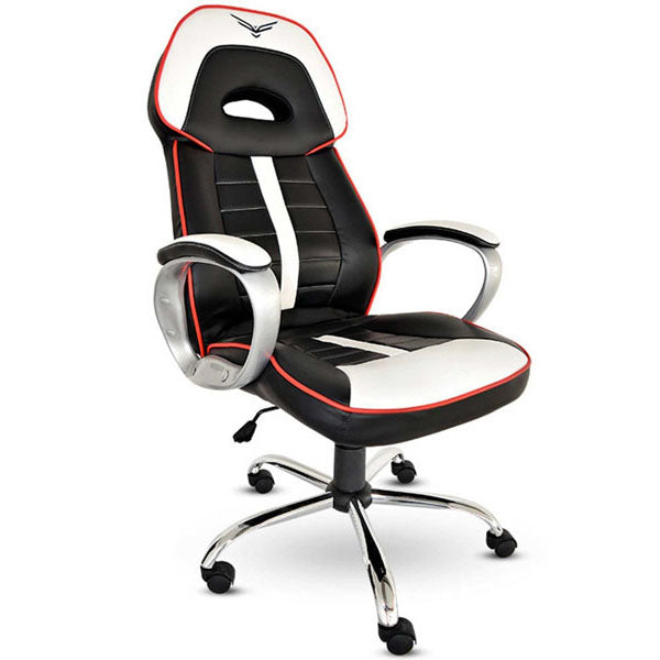 SILLA GAMER NACEB WARHAMMER PIEL SINTETICA Y NYLON NO RECLINABLE COLOR NEGRO CON BLANCO