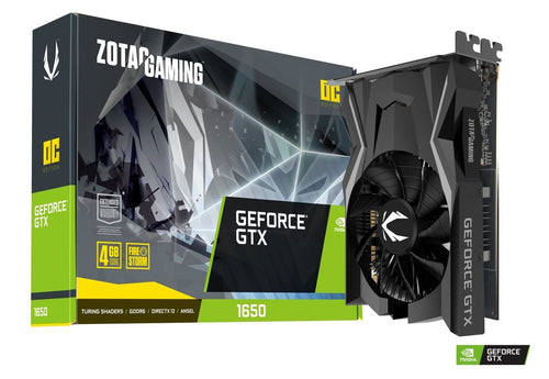 TARJETA DE VIDEO ZOTAC GEFORCE GTX 1650 SINGLE FAN OC 4GB DDR6 128BITS ZT-T16520F-10L