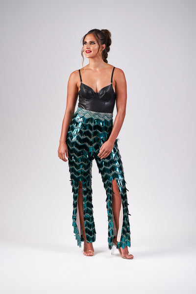 Emerald Chevron Sequin Disco Pants
