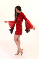 Bell Sleeve Red Velvet Dress