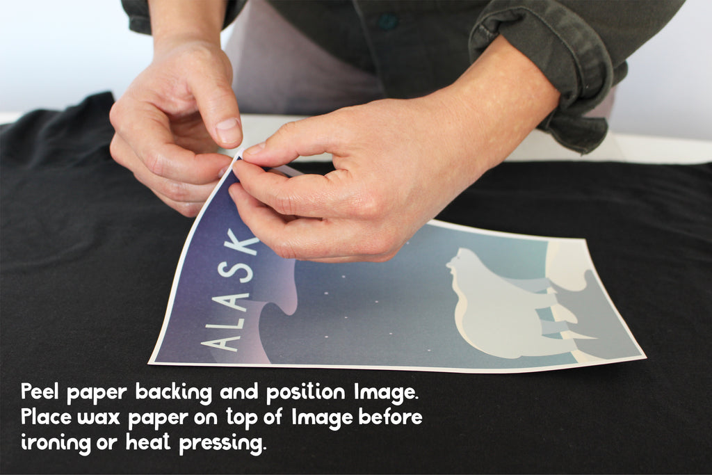 Peel off heat transfer paper to reveal backing