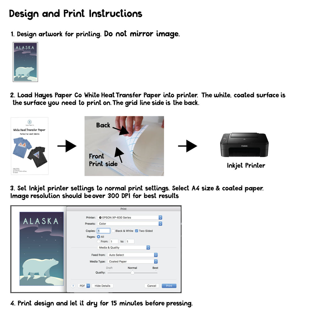 How to print Hayes Paper Heat transfer paper