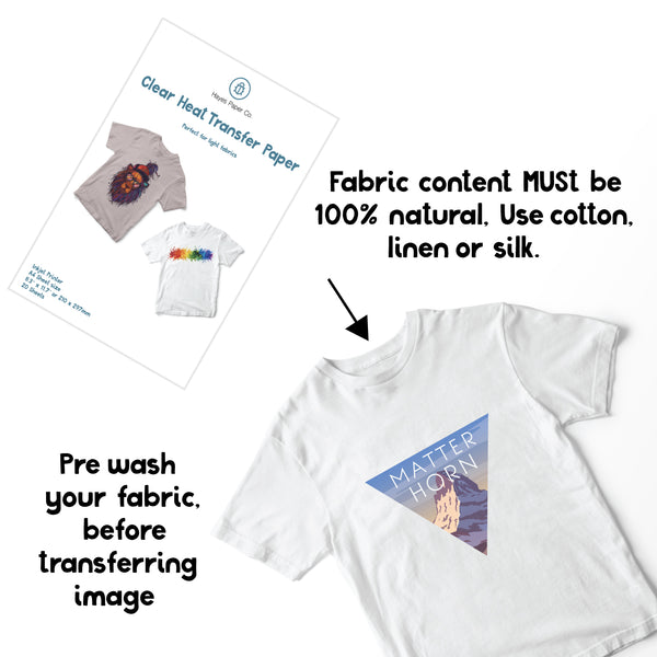 Fabric content clear heat transfer paper