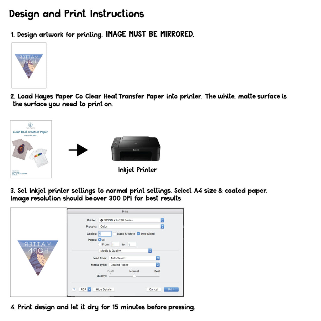 Printing instructions for heat transfer paper