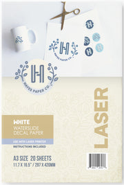 Hayes paper co, Hayes waterslide decal paper, hayes laser waterslide decal paper, laser decal paper, white decal paper