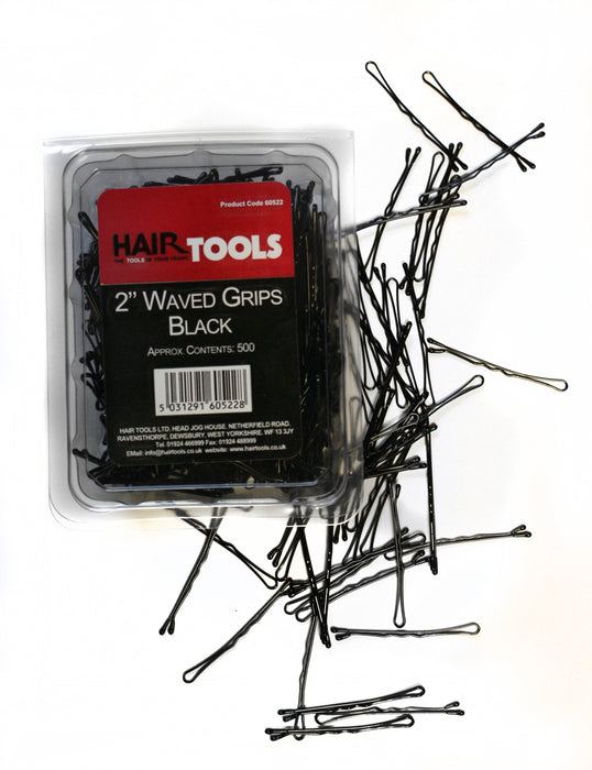 "Hair Tools - 2"" Waved Grips Black Box of 500"