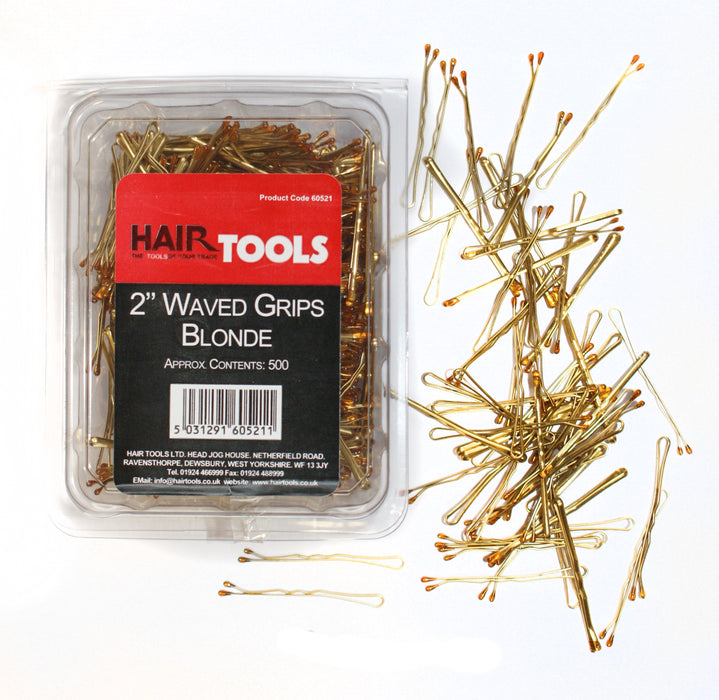 "Hair Tools - 2"" Waved Grips Blonde Box of 500"