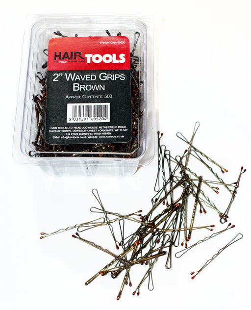 "Hair Tools - 2"" Waved Grips Brown Box of 500"