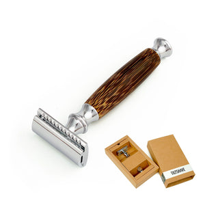 Double Edge Safety Razor with Long Natural Bamboo Handle