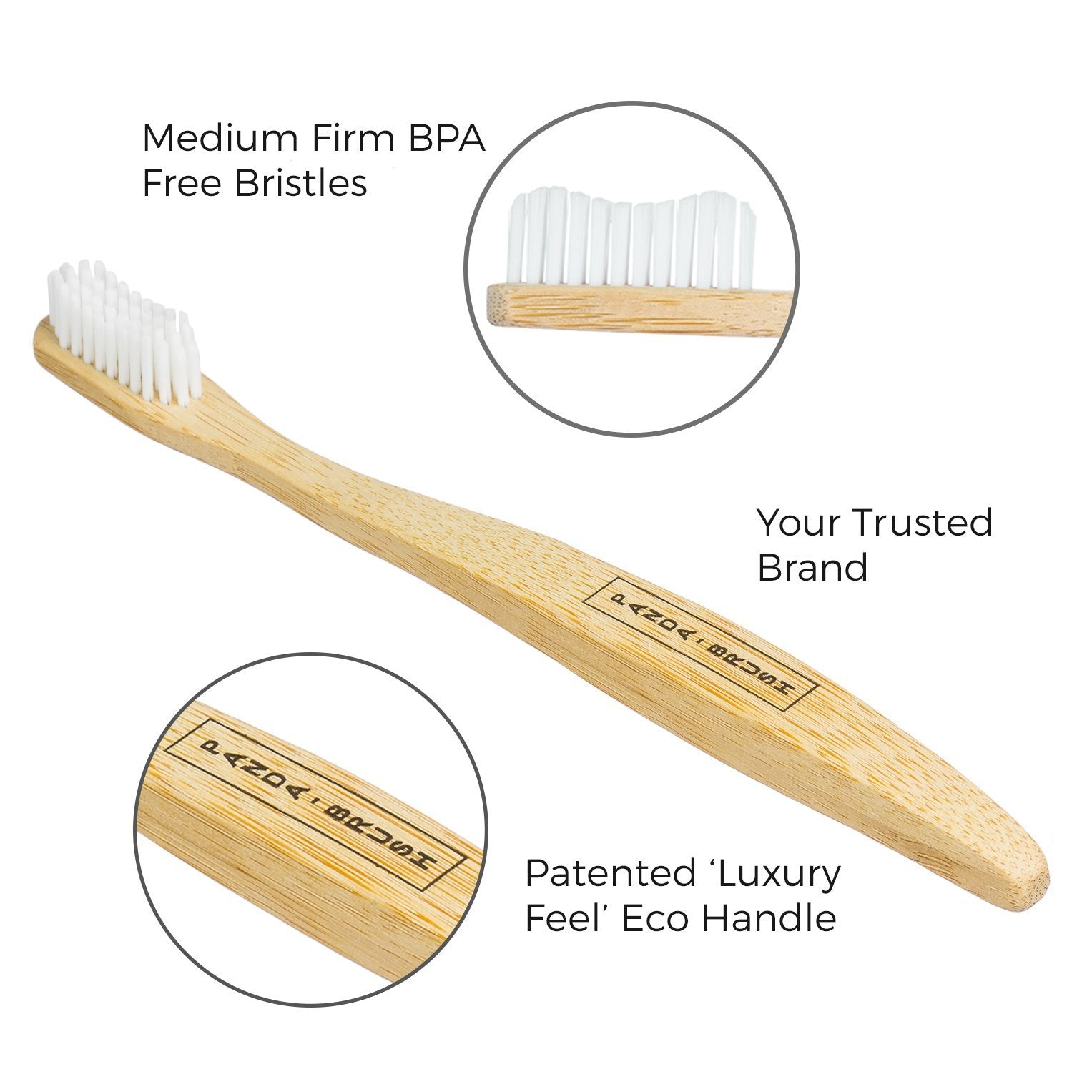 4 Adult Bamboo Toothbrushes