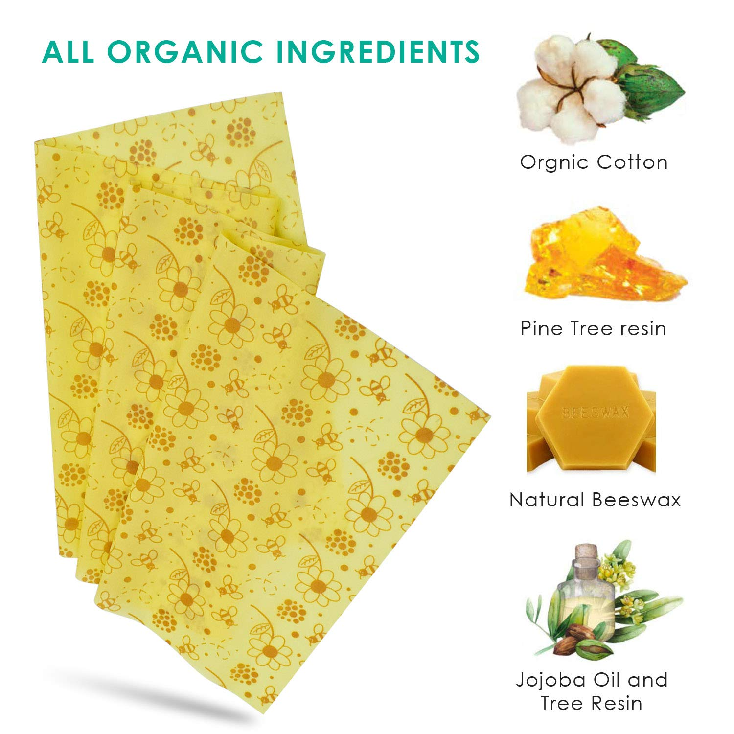 13 x 39 Inch Reusable Beeswax Wraps