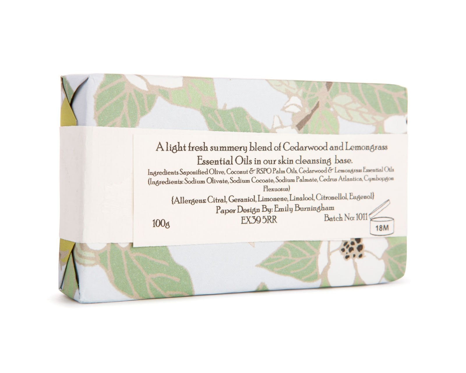 Handmade Cedarwood & Lemongrass Natural Soap Bar 100g
