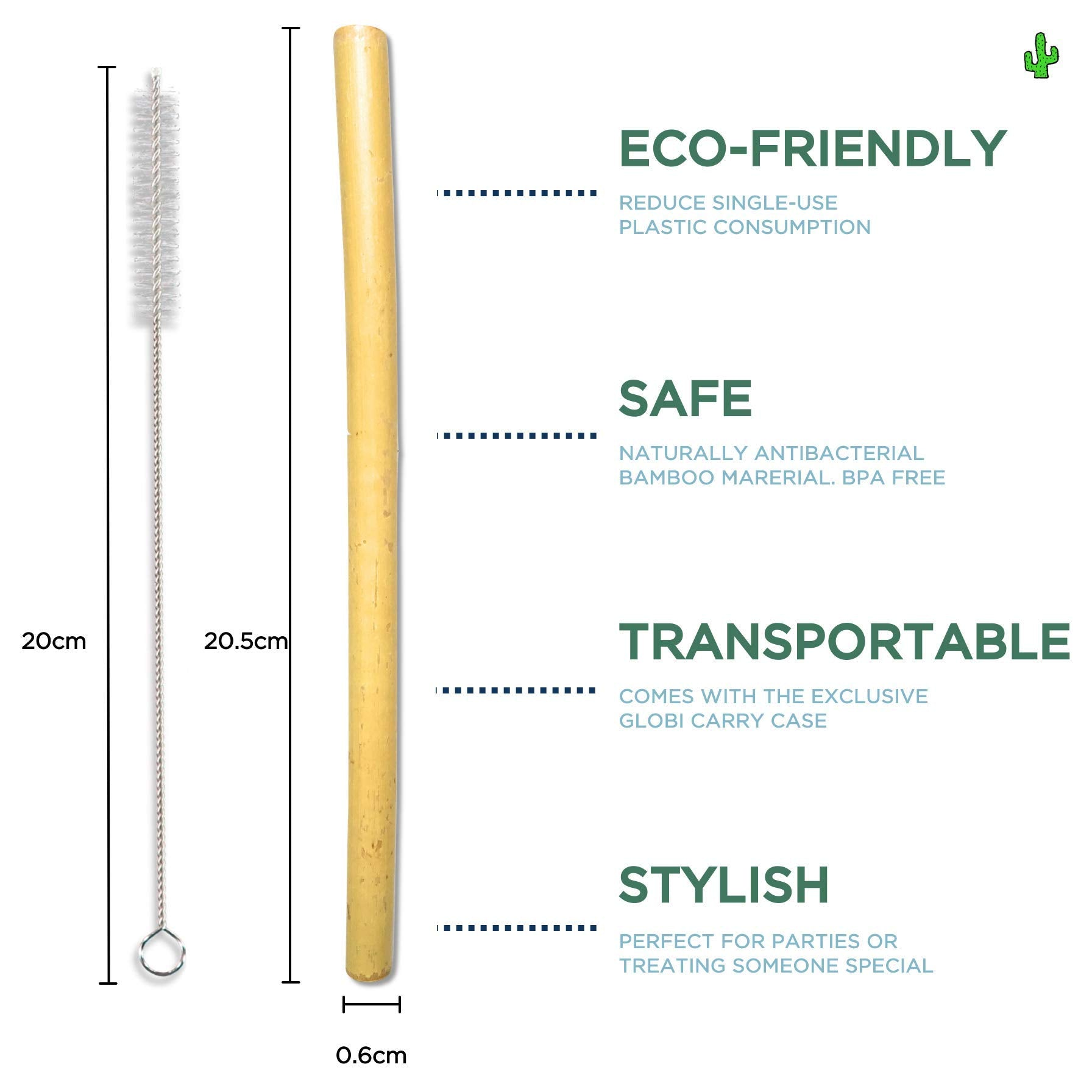 8 Bamboo Straws & 2 Cleaners