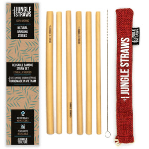 6 Bamboo Drinking Straws & Berry Coloured Carry Bag