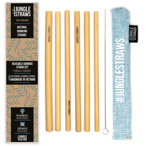 6 Bamboo Drinking Straws & Aqua Coloured Carry Bag