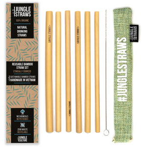 6 Bamboo Drinking Straws & Sage Coloured Carry Bag