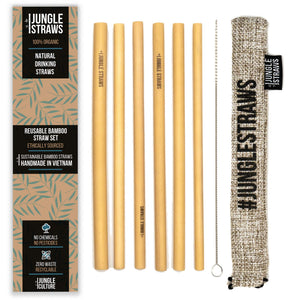 6 Bamboo Drinking Straws & Ash Coloured Carry Bag