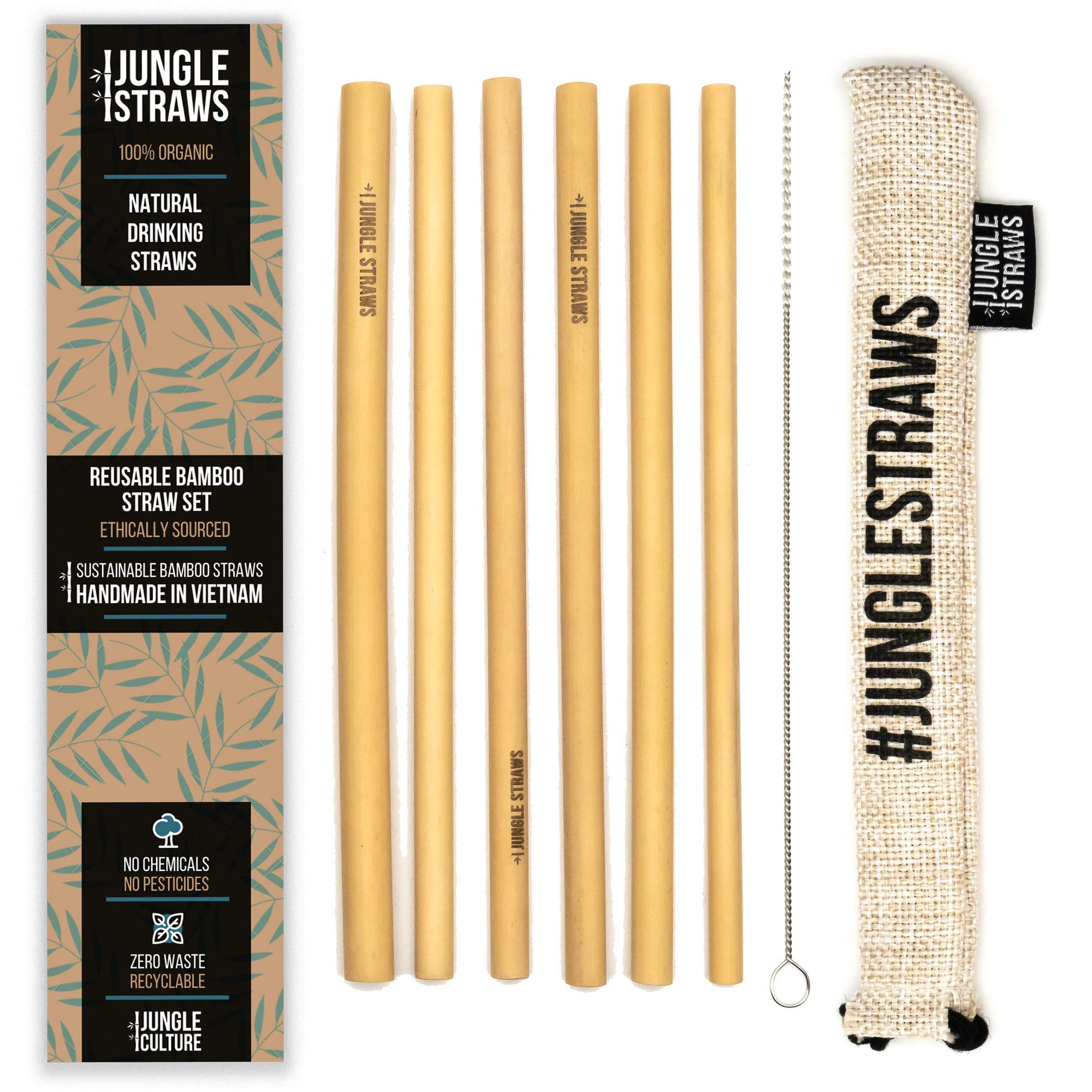 6 Bamboo Drinking Straws & Vanilla Coloured Carry Bag