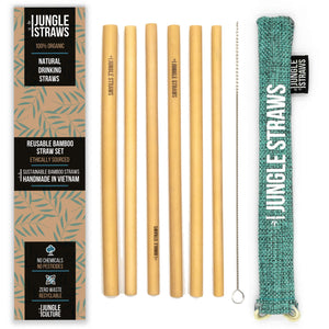 6 Bamboo Drinking Straws & Marine Coloured Carry Bag