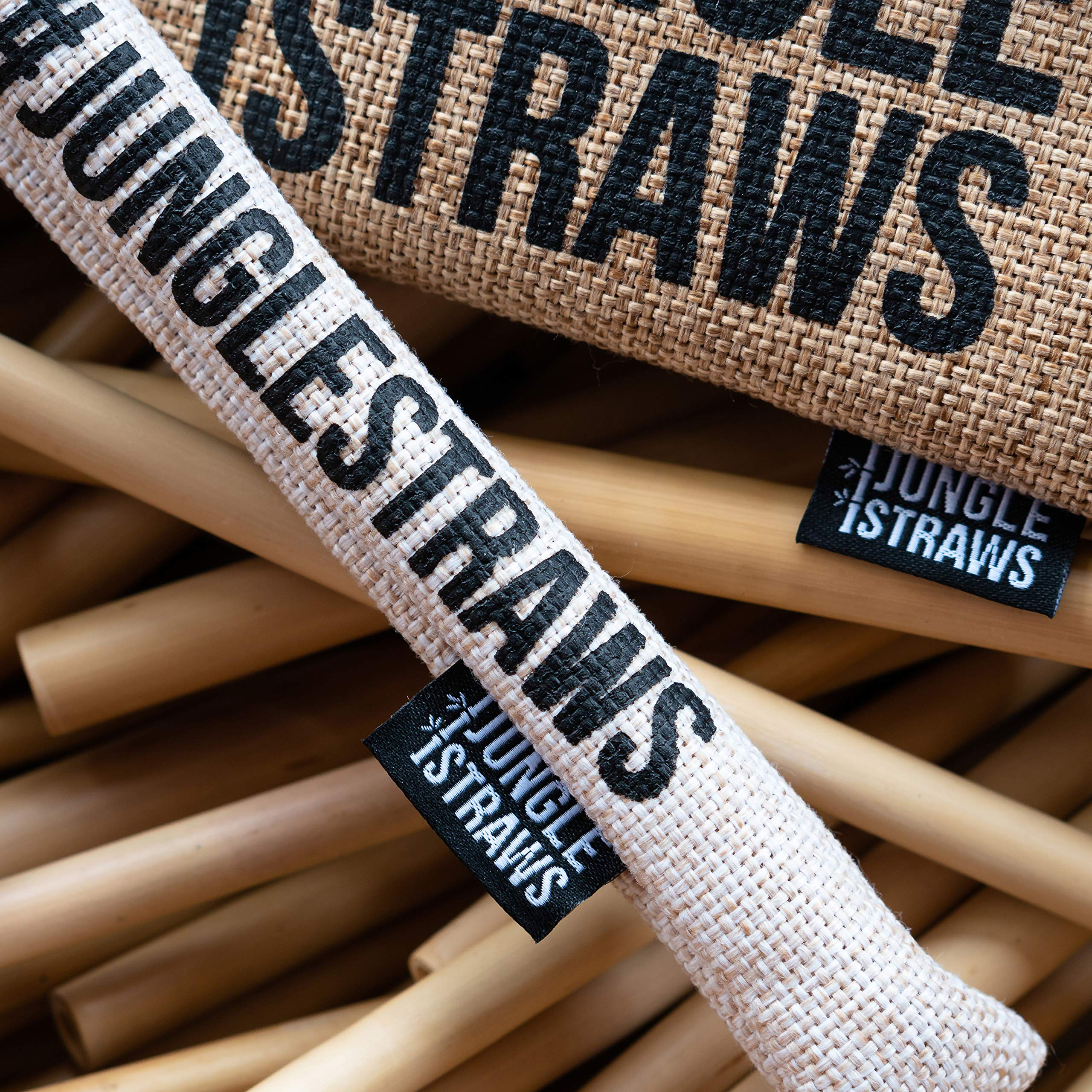 6 Bamboo Drinking Straws & Wheat Coloured Carry Bag