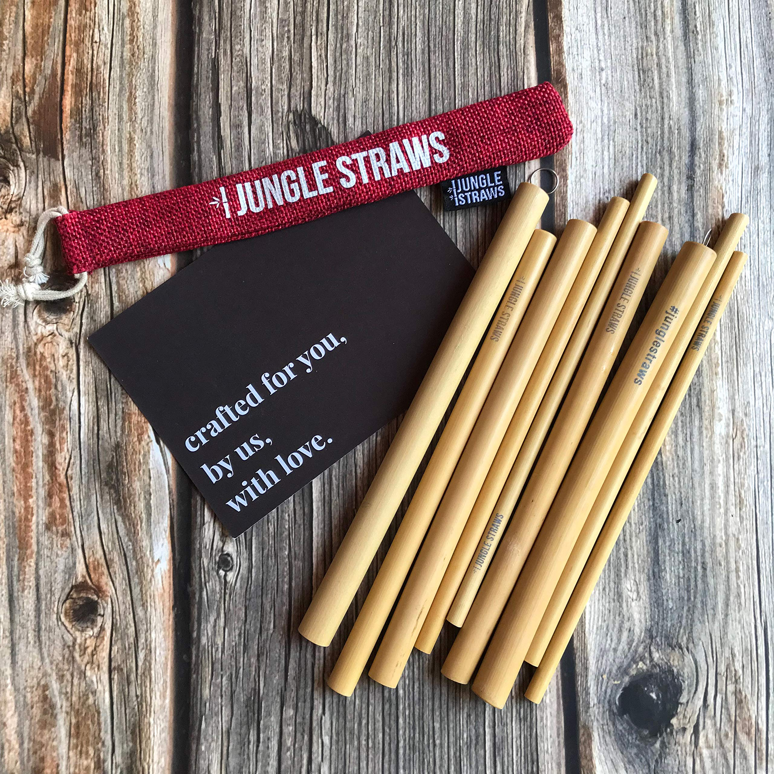6 Bamboo Drinking Straws & Charcoal Coloured Carry Bag