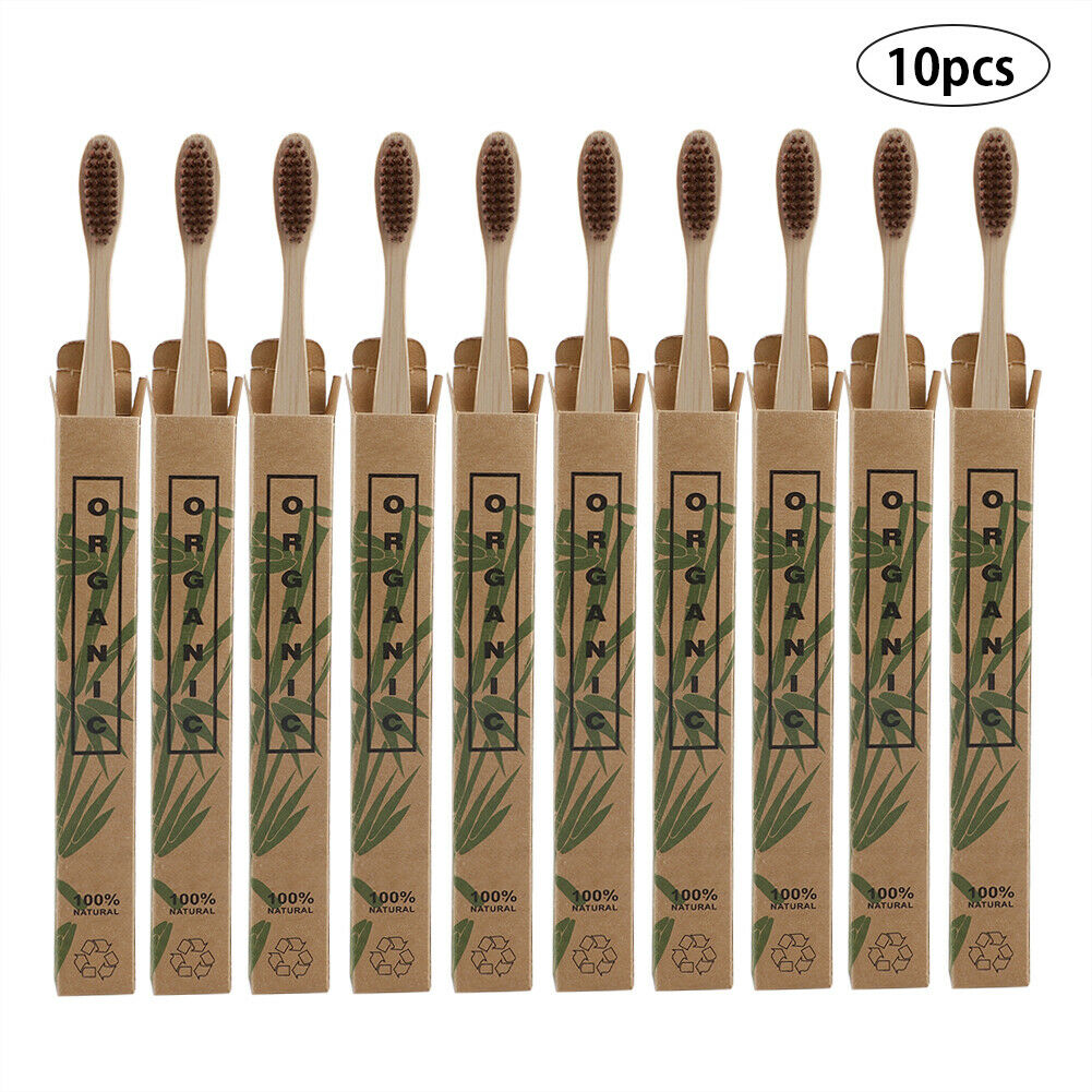 10 Pack Bamboo Biodegradable Natural Toothbrushes.