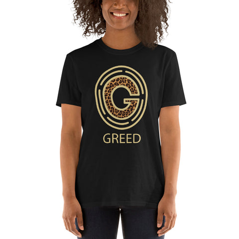 Greed womens T-Shirt