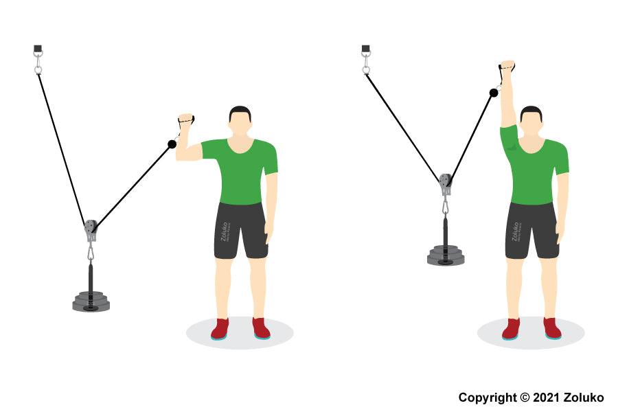 Cable Shoulder Press - Fitness Oefening - Executie / Uitvoering