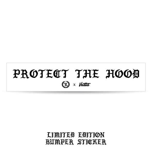 Protect The Hood- Bumper Sticker - White BG - VNDTA x Represent Collab Edition