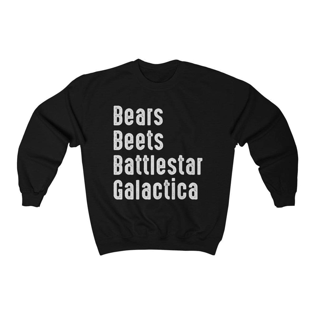 Black / S Bears Beets Battlestar Galactica Crewneck Sweatshirt - Ivory Parke - Modern Apparel and Trendy Accessories