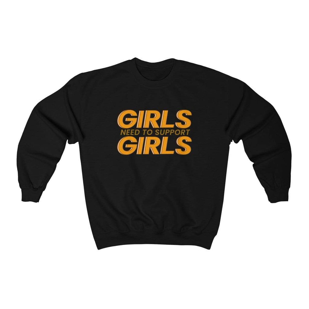 Black / S Girls Need To Support Girls Crewneck Sweatshirt - Ivory Parke - Modern Apparel and Trendy Accessories