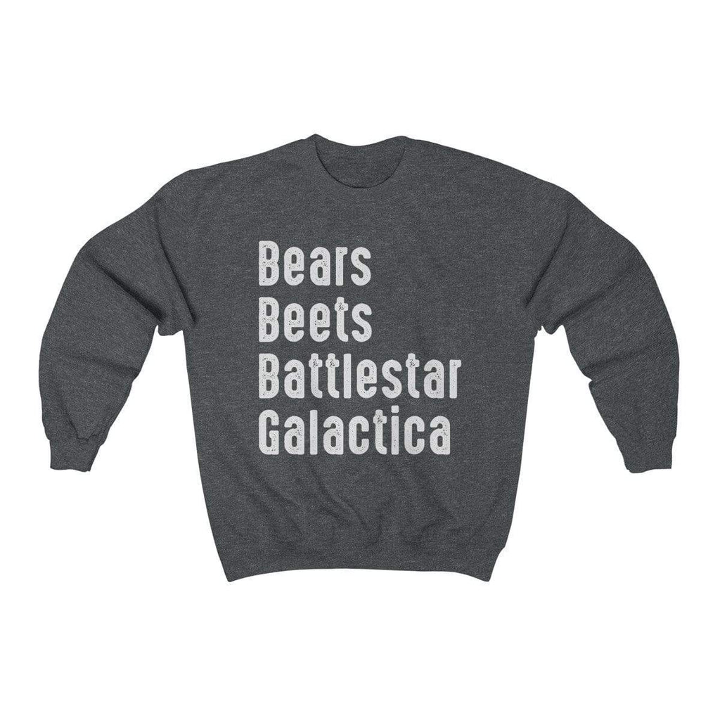 Dark Heather / S Bears Beets Battlestar Galactica Crewneck Sweatshirt - Ivory Parke - Modern Apparel and Trendy Accessories