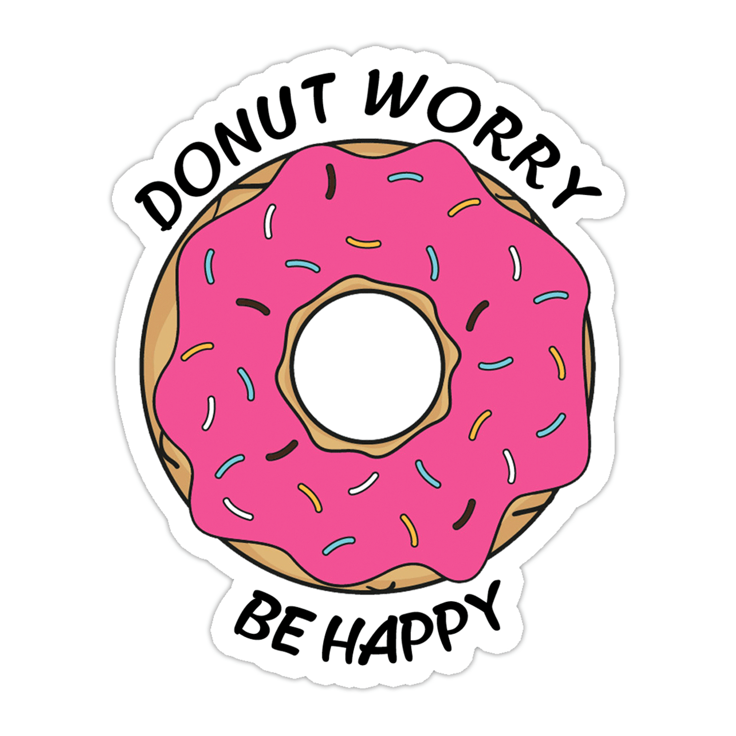 Funny donut worry be happy sticker