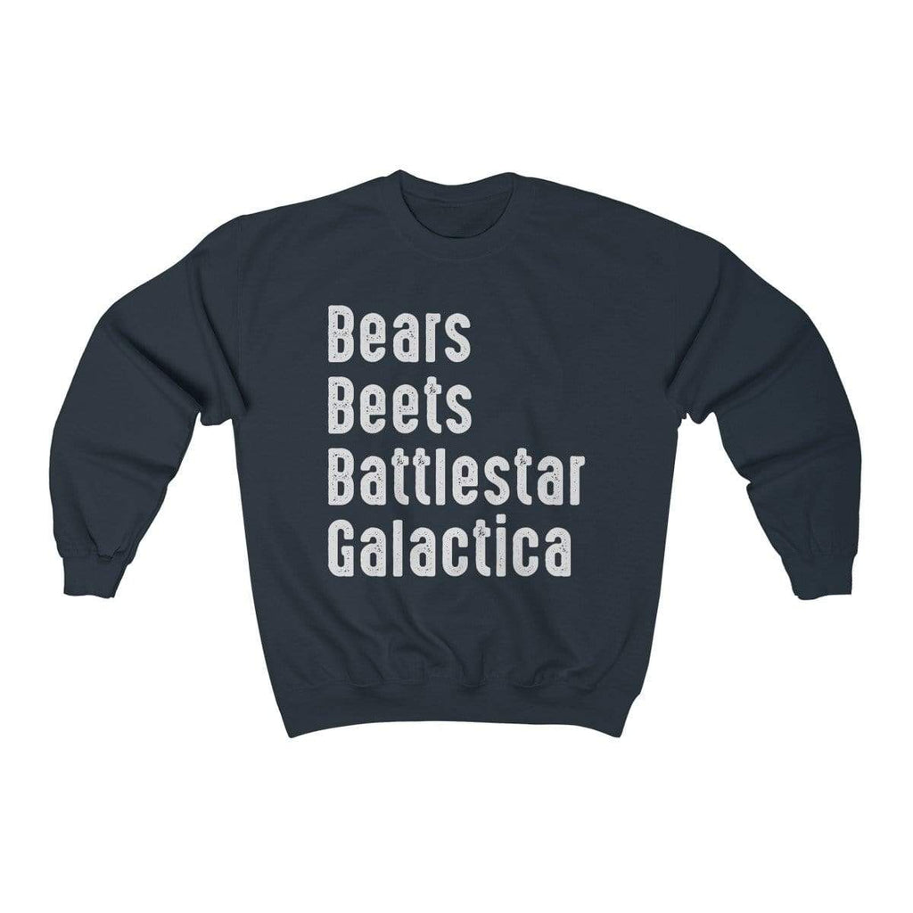 Navy / L Bears Beets Battlestar Galactica Crewneck Sweatshirt - Ivory Parke - Modern Apparel and Trendy Accessories