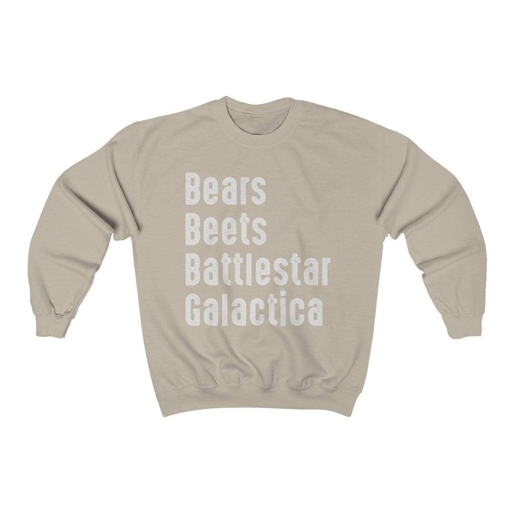 Sand / S Bears Beets Battlestar Galactica Crewneck Sweatshirt - Ivory Parke - Modern Apparel and Trendy Accessories