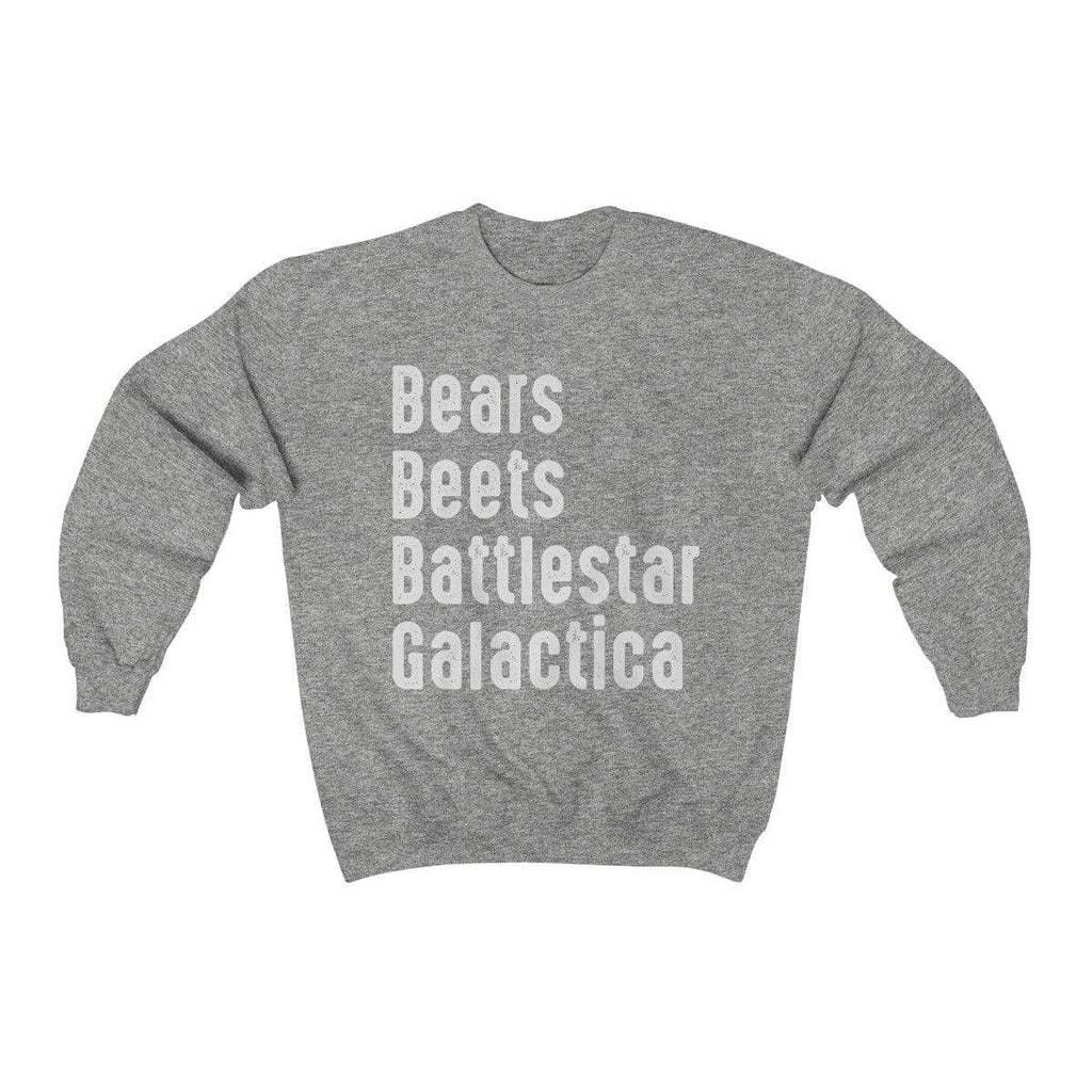 Sport Grey / S Bears Beets Battlestar Galactica Crewneck Sweatshirt - Ivory Parke - Modern Apparel and Trendy Accessories
