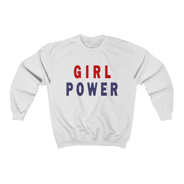 White / S Girl Power Crewneck Sweatshirt - Ivory Parke - Modern Apparel and Trendy Accessories