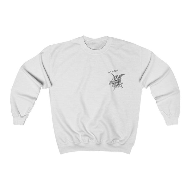 White / S No Angel Crewneck Sweatshirt - Ivory Parke - Modern Apparel and Trendy Accessories